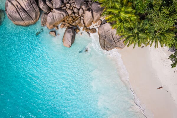 Seychelles luxury family holidays - beach aerial view