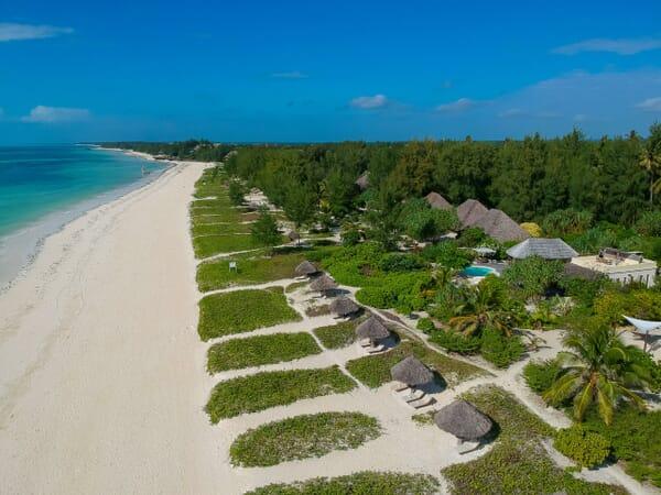 Tanzania Zanzibar White Sands Luxury Villas family safari aerial view