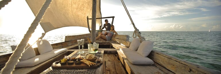 dhow boat cruise honeymoon mnemba island Zanzibar family safari