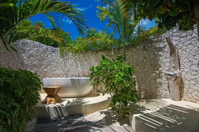 Tanzania Zanzibar White Sands Luxury Villas family safari outdoor bathtub