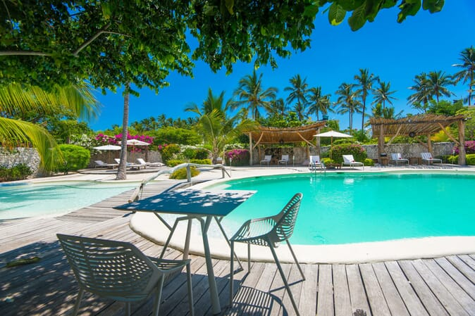 Tanzania Zanzibar White Sands Luxury Villas family safari pool side table