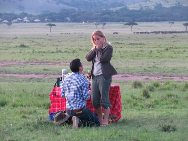 Family safari specialists - Mike and Tess proposal photo Masai Mara Kenya safari