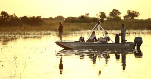 Botswana Okavango delta Xaranna fishing sunset family safari