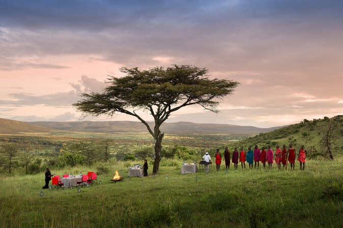 Tanzania Serengeti andBeyond Klein's Camp family safari bush dining