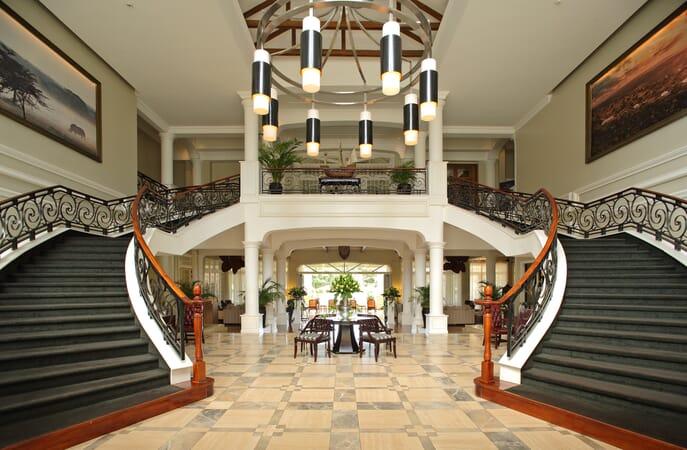 Kenya Nairobi Hemingways family safari lobby stairway