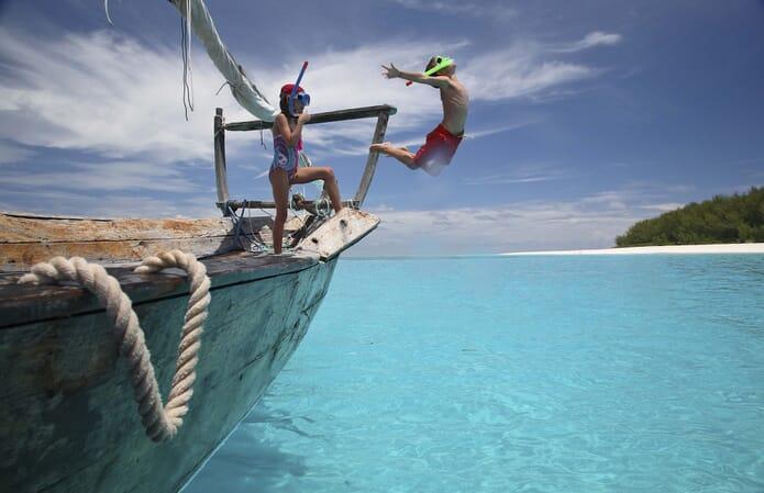 Tanzania Mnemba Island Zanzibar dhow snorkel kids family safari