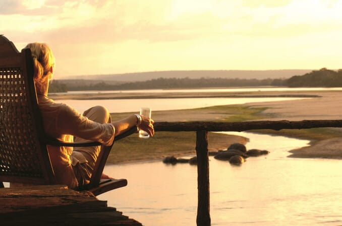 Tanzania Nyerere Sand Rivers Selous family safari view sundowner