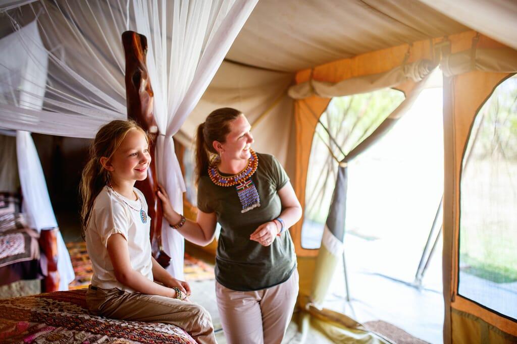 Africa girl child tent family safari