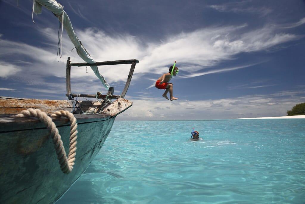 Mnemba Island dhow jump Zanzibar