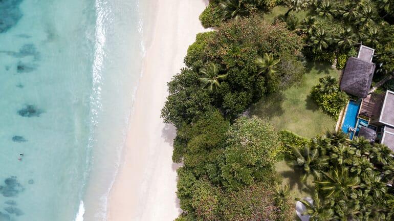 Anantara Maia Seychelles aerial beach