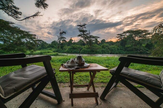 Ishasha Wilderness Camp Riverside View from Tent luxury