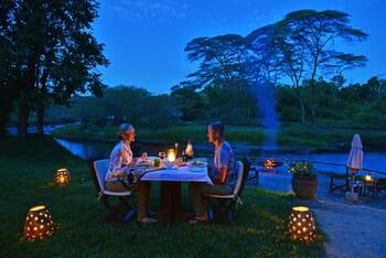 Ishasha Wilderness Camps Evening dining